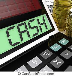 efectivo, calculadora, exposiciones, dinero, ganancia, y, gasto