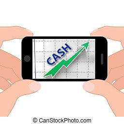 efectivo, gráfico, exhibiciones, más, dinero, y, ganancias
