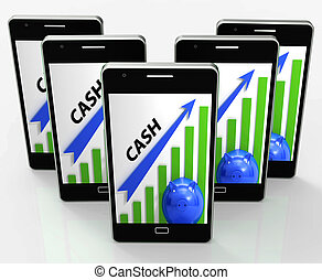 efectivo, gráfico, exposiciones, dinero, ganancias, y, ahorros