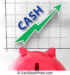 efectivo, gráfico, medios, más, dinero, y, ganancias