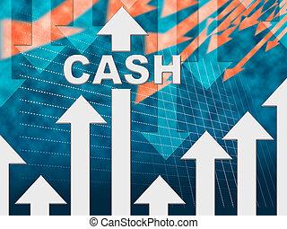 efectivo, gráfico, medios, riqueza, prosperidad, y, ganancias