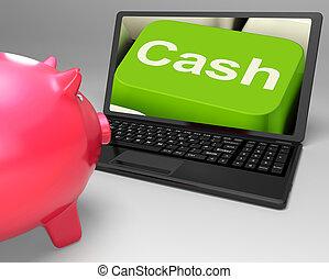 efectivo, llave, en, computador portatil, actuación, dinero, ahorros