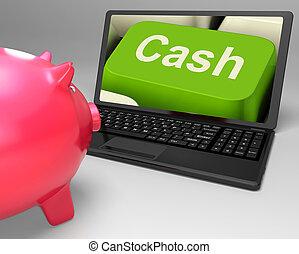 efectivo, llave, exposiciones, en línea, finanzas, ganancias, y, ahorros
