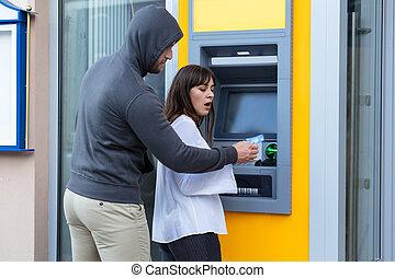 efectivo, mujer, robar, tarjeta, máquina, posición, ladrón