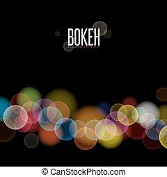 efeito, abstratos, obscurecido, luzes, bokeh, vetorial, experiência preta