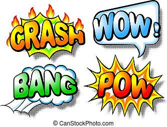 efeito, bolhas, com, chrash, wow, estrondo, e, pow