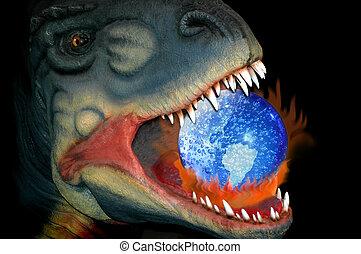 efeito estufa, e, a, maneira, de, a, dinossauro