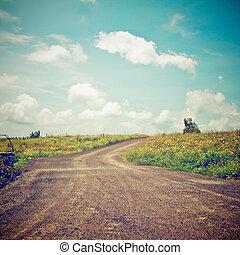efeito, filtro, paisagem, retro, estrada, colina