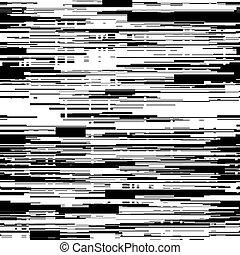efeito, illustration., distorção, abstratos, aleatório, seamless, lines., glitch, vetorial, experiência preta, horizontais, branca, textura