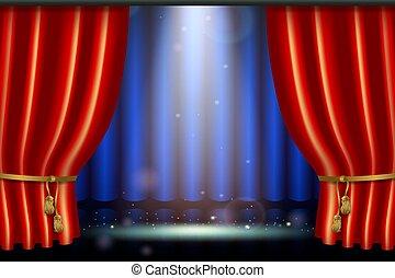 efeito, realístico, mais claro, cortina, holofote, vermelho