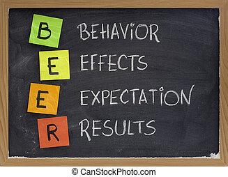 efeitos, expectativa, resultados, comportamento