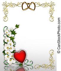 efeu, und, orchideen, hochzeitskarten