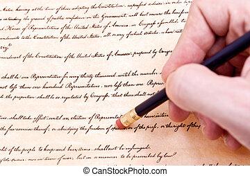 effacement, amendement, libertés, érosion, civil, liberté, ...