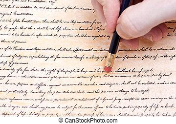 effacement, nous, amendement, seconde, constitution