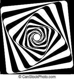 effect., óptico, negro, illusion., blanco, vasarely