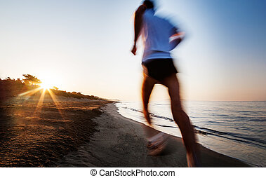 effect., νέος , sunrise., κίνηση , τρέξιμο , αμαυρώ , άντραs , παραλία , αποστηθίζω