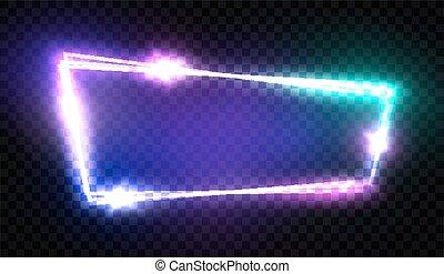 effect., フレーム, ネオン, 通り, ブランク, 背景。, スタイル, 白熱, レトロ, 80s, 照ること, 3d, 電気である, カラフルである, クラブ, 看板, 印。, techno, 旗, 透明, illustration., ライト, ベクトル, 夜, design.
