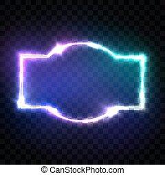 effect., フレーム, ネオン, 通り, ブランク, style., 照ること, バックグラウンド。, 白熱, レトロ, 80s, design., 3d, 電気である, カラフルである, クラブ, 看板, 印。, イラスト, techno, 旗, 透明, ライト, ベクトル, 夜