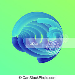 effect., 動的, 抽象的, sphere., イラスト, 波状, 3d