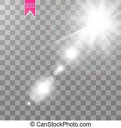 effect., 火炎信号, フラッシュ, 日光, レンズ, ベクトル, ライト, 太陽, 透明, 特別