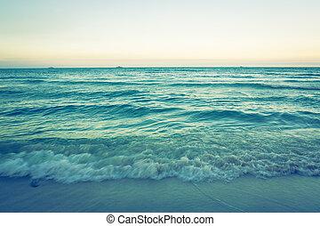 effect., (, beeld, hemel, ), verwerkt, zee, ouderwetse ,...
