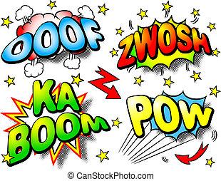 effect bubbles with ooof, zwosh, ka boom, pow - vector...