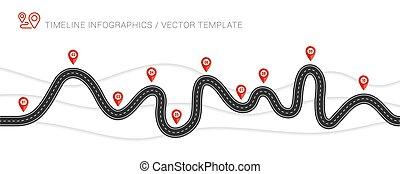 effect., estrada, isolado, enrolamento, transparente, ...