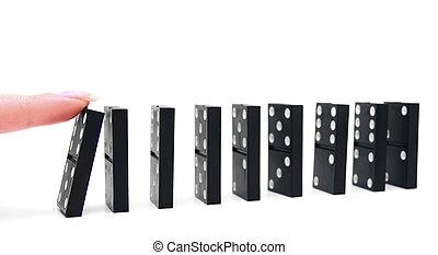 effect., experiência., domino, branca