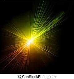 effect., fény, vektor, fellobbanás
