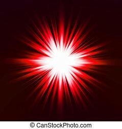 effect., fény, vektor, piros, fellobbanás