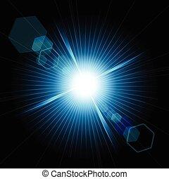 effect., flamme, lentille, étoile, bokeh