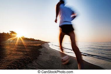 effect., jonge, sunrise., motie, rennende , verdoezelen, man, strand, con