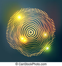 effect., licht, abstract, cyber, bol, gloeiend, illustratie, vector., music.