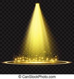 effect., licht, illustratie, vector, gele, schijnwerper