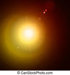 effect., licht, vector, geel flakkerend licht