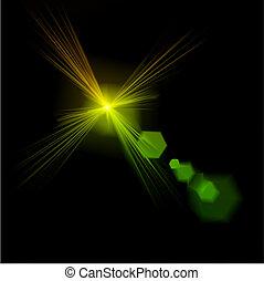 effect., licht, vector, groene, vuurpijl