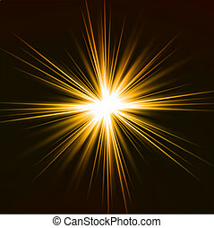 effect., luce, vettore, giallo brilla luce incerta