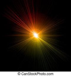effect., lumière, vecteur, flamme