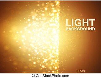 effect., lumières, bokeh, fond, jaune