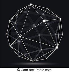 effect., maille, dimensionnel, numérique, 3d, connexions, champ, lignes, vecteur, conception, treillis, sphère, abstraction, science, dynamique, style, profondeur, technologie, réaliste, polygonal, résumé, points