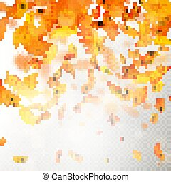 Effect of autumn falling leaves layer with shallow DOF blur. Autumnal foliage fall template. Warm color. EPS 10