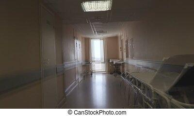 effect of feeling unwell in the hospital corridor. visual...