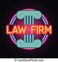 effect., oficina, luz de neón, ilustración, tablón, consejería jurídica, anuncio, vector