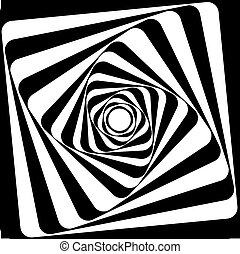 effect., optyczny, czarnoskóry, illusion., biały, vasarely