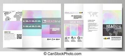effect., résumé, brouillé, couleurs, texture., design., sides., pastel, disposition, business, modèle, hologramme, gabarits, plat, coloré, fond, brochure, deux, holographic, tri-fold, vecteur, futuriste