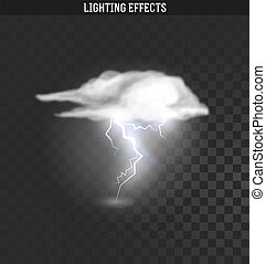 effect., relámpago, nube, lightnings., thunder-storm