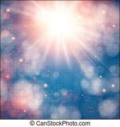 effect., sole, flare., lente, bokeh, fondo, morbido, lucente