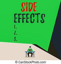 effects., ∥あるいは∥, 薬, 椅子, 開いた, 側, 人, 医学, 若い, 概念, 効果, 幾何学的, 好ましくない人物, 二次, 仕事, 待遇, バックグラウンド。, ラップトップ, 机, テキスト, 手書き, モデル, 光景, 意味