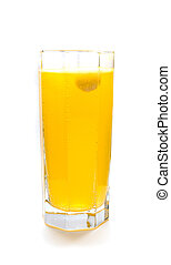 Effervescent orange tablet in glass of water