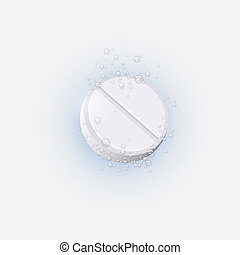 Effervescent tablet in water with bubbles. Vector...